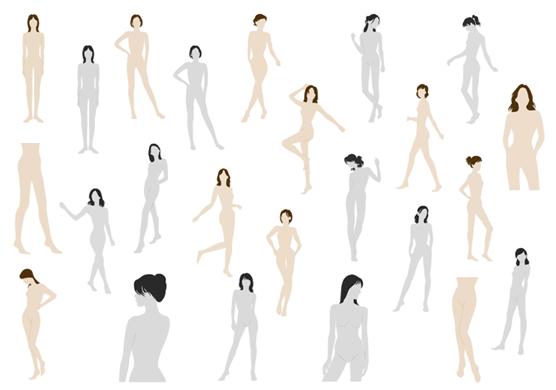 ファッション・デザイン画、スタイル画スケッチ